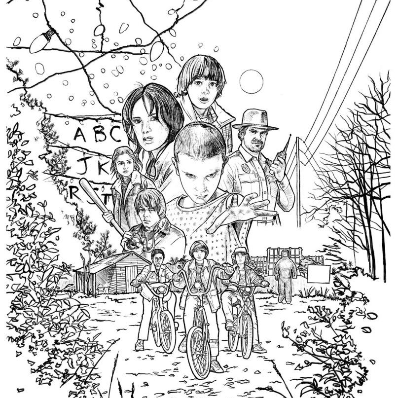 Stranger Things colouring pages. Print a unique collection for free